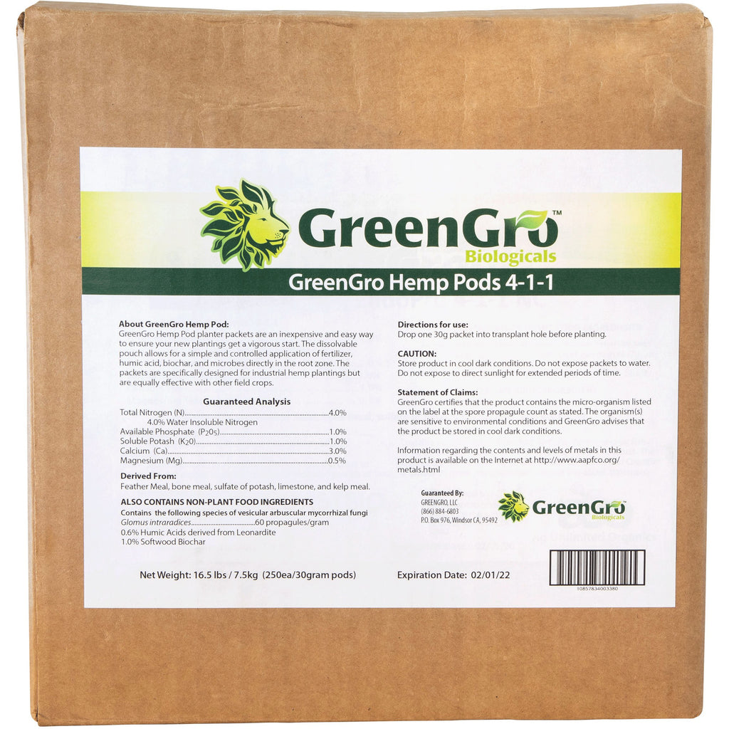 GreenGro™ Hemp Pods | Case of 250