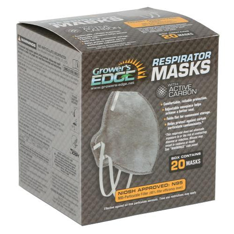 Grower's Edge® Clean Room Vertical Fold-Flat Active Carbon Respirator Mask | Pack of 20