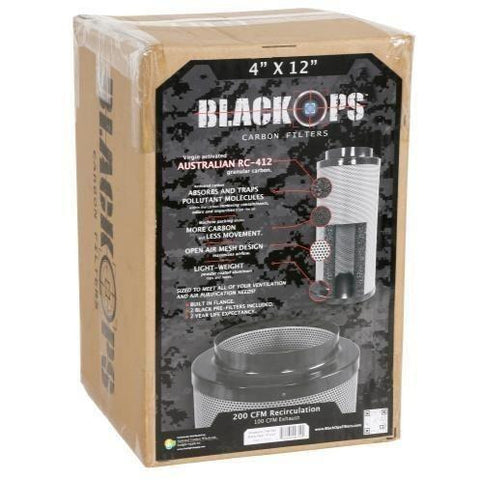 "Black Ops® Carbon Filter 4"" x 12"" 200 CFM"
