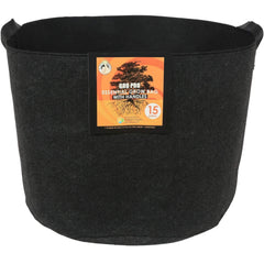Gro Pro® Essential Round Fabric Pot with Handles Black, 15 gal