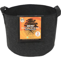 Gro Pro® Essential Round Fabric Pot with Handles Black, 3 gal