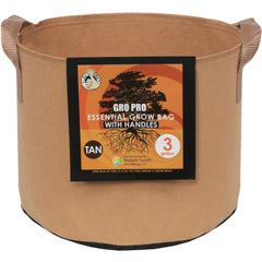 Gro Pro® Essential Round Fabric Pot with Handles Tan, 3 gal