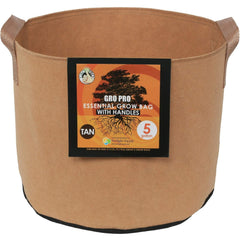 Gro Pro® Essential Round Fabric Pot with Handles Tan, 5 gal