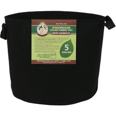 Gro Pro® Premium Round Fabric Pot with Handles Black, 5 gal