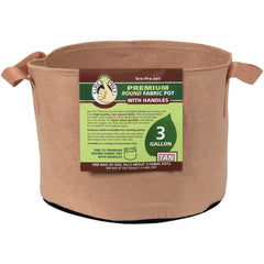 Gro Pro® Premium Round Fabric Pot with Handles Tan, 3 gal | Special Order Only