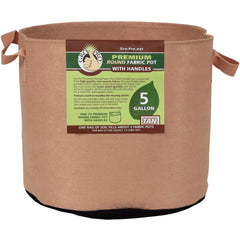 Gro Pro® Premium Round Fabric Pot with Handles Tan, 5 gal