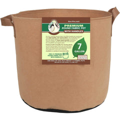 Gro Pro® Premium Round Fabric Pot with Handles Tan, 7 gal
