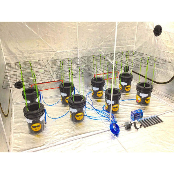 GROJI® SCROG 8 Plant DWC Hydroponics System | Deep Water Culture Bubbler Grow Buckets