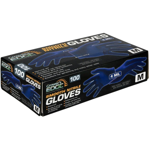 Grower's Edge® Blue Powder Free Nitrile Gloves 4 mil, Large | Box of 100