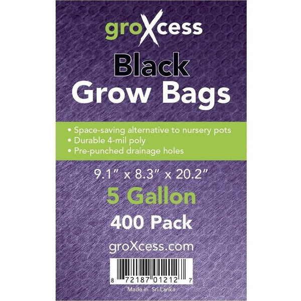 Groxcess® Black Grow Bags 5 Gal | Pack Of 400 Containers Plastic