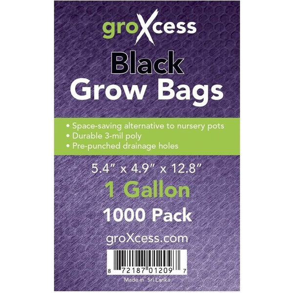 Groxcess® Black Grow Bags Gal | Pack Of 1000 Containers Plastic