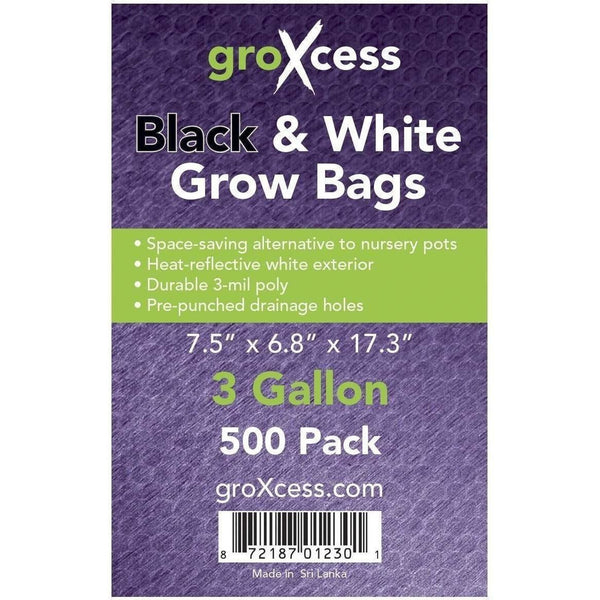 Groxcess® Black & White Grow Bags 3 Gal | Pack Of 500 Containers Plastic
