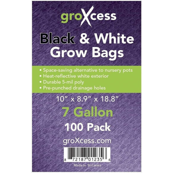 Groxcess® Black & White Grow Bags 7 Gal | Pack Of 100 Containers Plastic