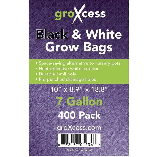 Groxcess® Black & White Grow Bags 7 Gal | Pack Of 400 Containers Plastic