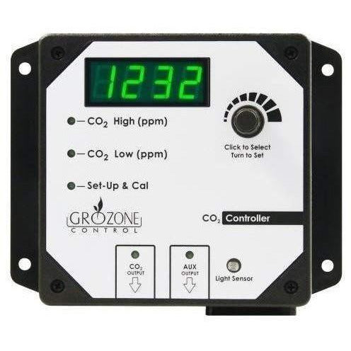 Grozone Control CO2R 0-5000 PPM CO2 Controller with AUX Output & High Temp | Special Order Only