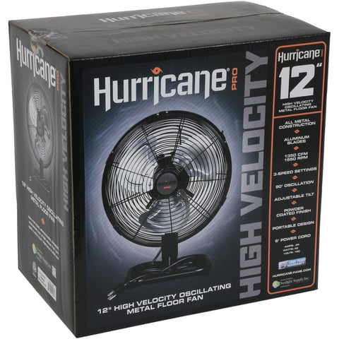 Hurricane® Pro High Velocity Metal Floor Fan, 12""