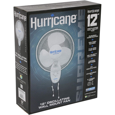 Hurricane® Supreme Oscillating Wall Mount Fan, 12""