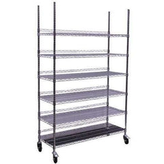 Hydro Flow® Commercial Grade Chrome Storage Rack, 6 Shelves with Backstop & Casters