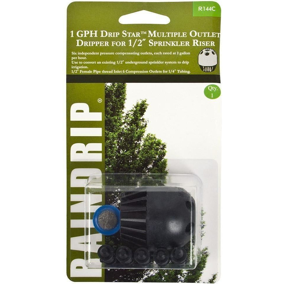 "Raindrip® 1 GPH Drip Star Multiple Outlet Dripper for 1/2"" Sprinkler Riser 