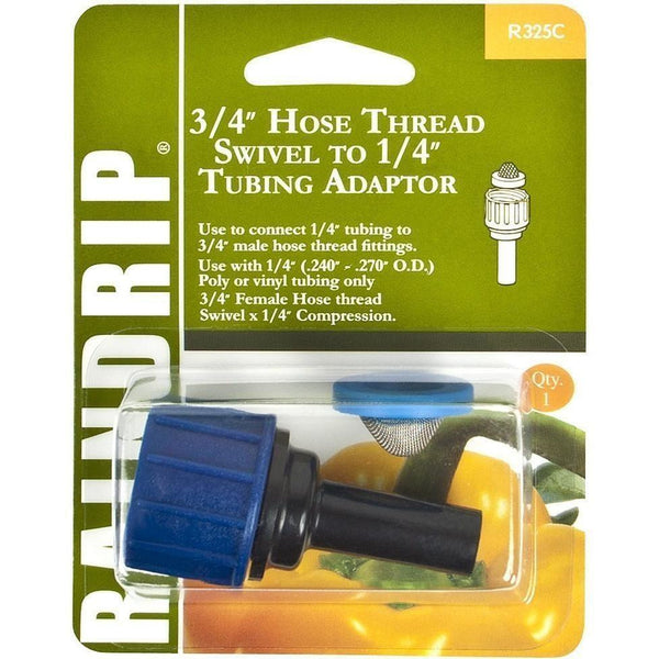 Raindrip® 3/4 Hose Thread Swivel X 1/4 Tubing Adaptor Irrigation | Fittings