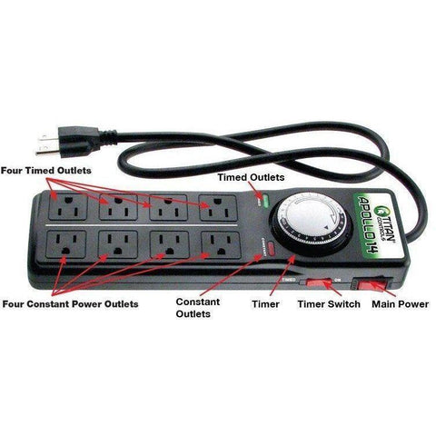 Titan Controls® Apollo® 14, Eight Outlet Power Strip with Timer