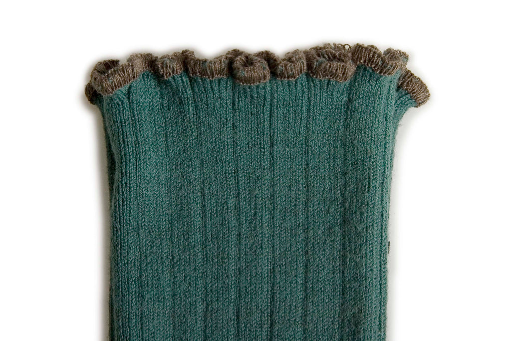 Collégien / Lettuce Trim Socks- Jade with Clay Trim