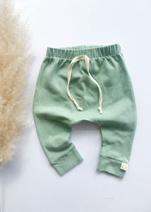 Eucalyptus Green Baby Toddler Harem Leggings - Sadie:Baby UK