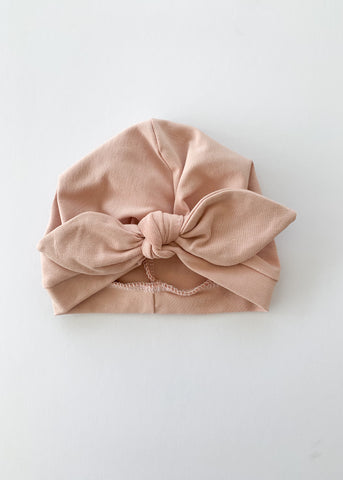Blush Pink Baby Turban Bow Hat - Sadie:Baby UK
