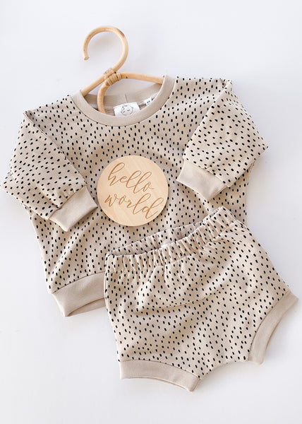 shorts lounge set | beige dots - Sadie:Baby UK