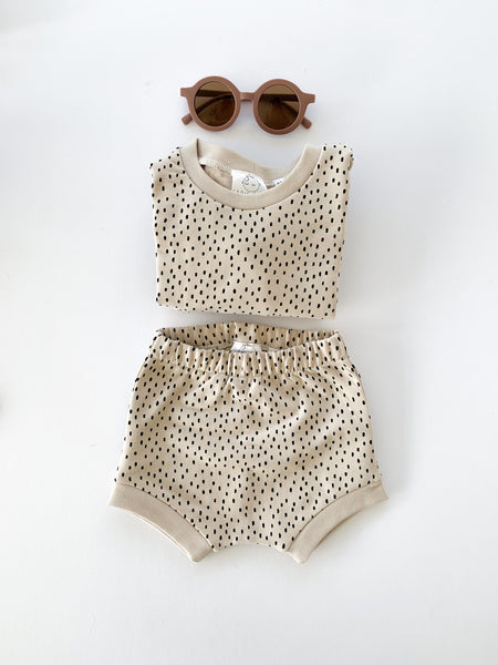 shorty lounge set | beige dots - Sadie:Baby UK