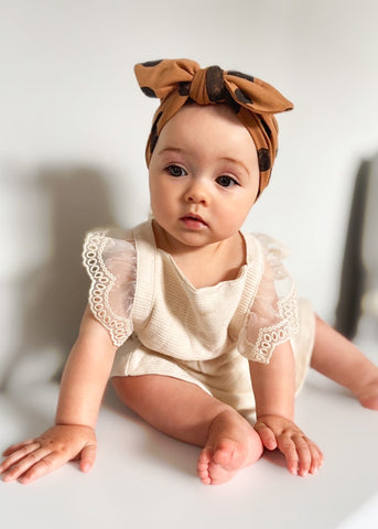 Toffee Spot Baby Turban Bow Hat - Sadie:Baby UK