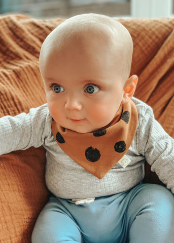 Reversible Toffee Spot Latte Dribble Bandana Bib - Sadie:Baby UK