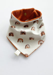 Rainbow + Rust Terry Dribble Bandana Bib - Sadie:Baby UK
