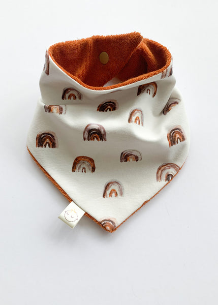dribble bib | rainbow + rust - Sadie:Baby UK