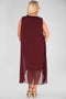 Plus Size Tulle Detailed Claret Red Dress