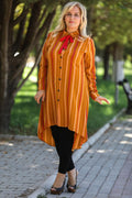 Plus Size Banded Collar Patterned Tunic