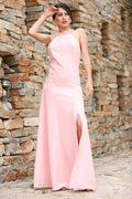 Women's Slit Powder Rose Evening Dress