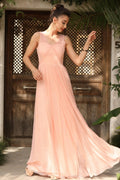 Women's Glittery Powder Rose Evening Dress