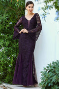 Women's Fish Model Glitter Purple Evening Dress - Mavoli.com