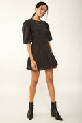 Women's Belted Frill Black Short Dress
