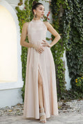 Women's Shiny Powder Rose Evening Dress