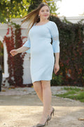Plus Size Back Buttoned Blue Dress