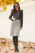 Women's Button Grey Short Skirt