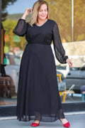 Women's Plus Size Belted Tulle Black Long Dress