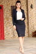 Women's Zipped Navy Blue Skirt