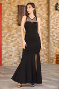 Women's Tulle Detailed Black Evening Gown