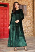 Women's Plus Size Buttoned Back Green Velvet Dress