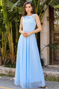 Women's Silvery Blue Evening Dress