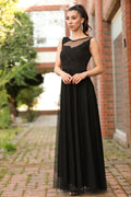 Women's Lace Detail Black Evening Gown