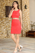 Women's Sleeveless Vermilion Dress